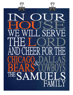 A House Divided - Chicago Bears & Dallas Cowboys Personalized Family Name Christian Print