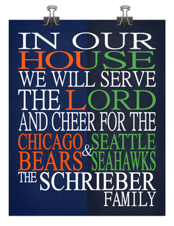 A House Divided - Chicago Bears & Seattle Seahawks personalized family poster Christian gift sports wall art -multiple sizes
