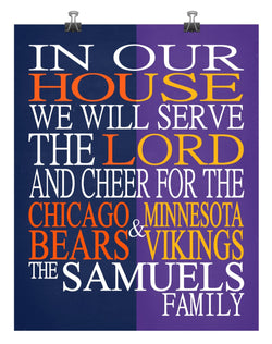 A House Divided - Chicago Bears & Minnesota Vikings Personalized Family Name Christian Print