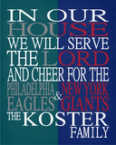 House Divided - Philadelphia Eagles & New York Giants Personalized Christian Sports Print