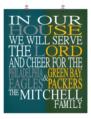 A House Divided - Philadelphia Eagles & Green Bay Packers Personalized Family Name Christian Print