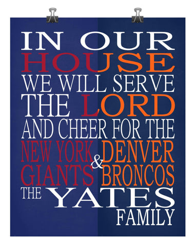 A House Divided - New York Giants & Denver Broncos Personalized Family Name Christian Print