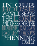 A House Divided - Philadelphia Eagles & Dallas Cowboys Personalized Family Name Christian Print