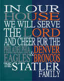 A House Divided - Philadelphia Eagles & Denver Broncos Personalized Family Name Christian Print