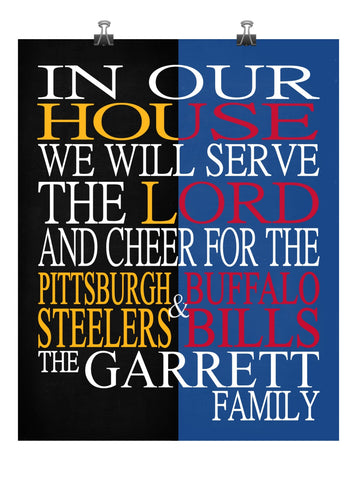 A House Divided Pittsburgh Steelers and Buffalo Bills Personalized Family Name Christian Print