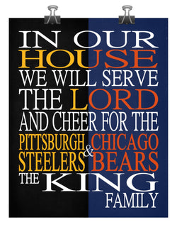 A House Divided -  Pittsburgh Steelers and Chicago Bears Personalized Family Name Christian Print
