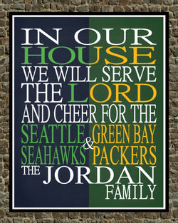 A House Divided - Seattle Seahawks and Green Bay Packers Personalized Family Name Christian Print
