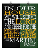 A House Divided - Pittsburgh Steelers & Green Bay Packers Personalized Family Name Christian Print