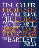 A House Divided - Minnesota Vikings & Denver Broncos Personalized Family Name Christian Print