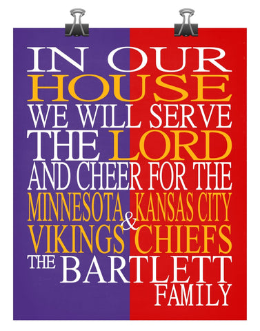 A House Divided - Minnesota Vikings & Kansas City Chiefs Personalized Family Name Christian Print