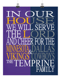 A House Divided - Minnesota Vikings & Dallas Cowboys Personalized Family Name Christian Print