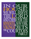 A House Divided - Minnesota Vikings & New York Jets Personalized Family Name Christian Print