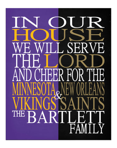 A House Divided - Minnesota Vikings & New Orleans Saints Personalized Family Name Christian Print