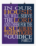A House Divided - LSU Tigers and Auburn Tigers Personalized Family Name Christian Print