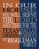 A House United - Texas Longhorns and Dallas Cowboys Personalized Family Name Christian Print