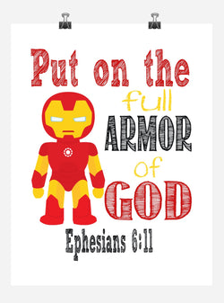 Iron Man Superhero Christian Nursery Decor Art Print - Put on the full Armor of God - Ephesians 6:11