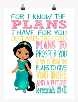 Jasmine Christian Princess Nursery Decor Print, For I Know The Plans I Have For You - Jeremiah 29:11