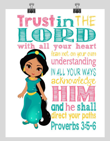 Jasmine Christian Princess Nursery Decor Print, Trust in the Lord with all your heart - Proverbs 3:5-6