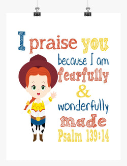 Jessie Toy Story Christian Nursery Decor Print, Fearfully & Wonderfully Made Psalm 139:14