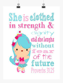 Jessicake Shopkins Christian Nursery Decor Print, She is Clothed in Strength & Dignity Proverbs 31:25