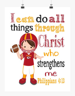 Personalized Kansas City Chiefs Christian Sports Nursery Decor Print - I Can do All Things through Christ who Strengthens Me - Philippians 4:13