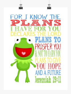 Kermit the Frog Sesame Street Christian Nursery Decor Print, For I Know The Plans I Have For You, Jeremiah 29:11