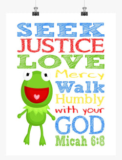 Kermit the Frog Sesame Street Christian Nursery Decor Print, Seek Justice Love Mercy Micah 6:8