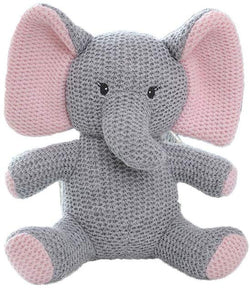 Pink and Gray Elephant Knitted Stuffed Animal Toy
