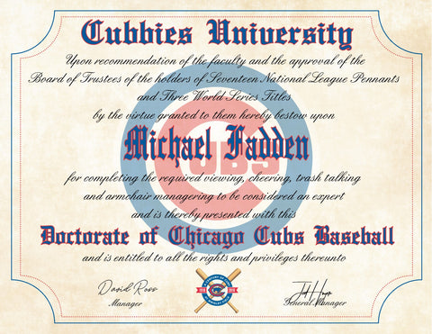 "Chicago Cubs Ultimate Baseball Fan Personalized Diploma - 8.5"" x 11"""