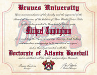 "Atlanta Braves Ultimate Baseball Fan Personalized Diploma - Perfect Gift - 8.5"" x 11"""