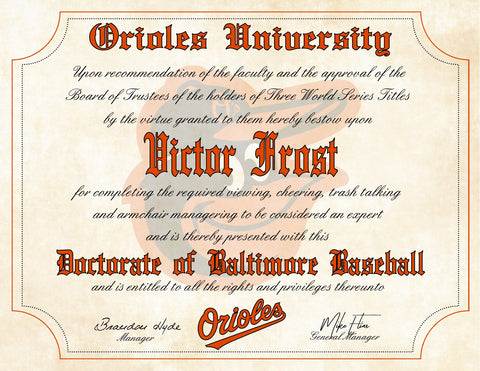 "Baltimore Orioles Ultimate Baseball Fan Personalized Diploma - Perfect Gift - 8.5"" x 11"""