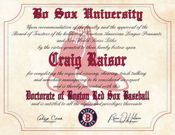 Boston Red Sox Ultimate Baseball Fan Personalized Diploma - Perfect Gift