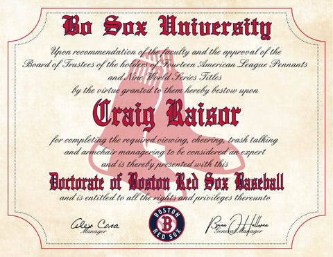 "Boston Red Sox Ultimate Baseball Fan Personalized Diploma - 8.5"" x 11"""