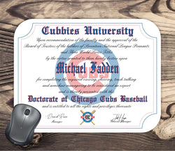Personalized Chicago Cubs Baseball Ultimate Fan Diploma Mouse Pad
