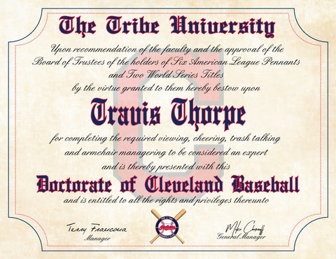 "The Tribe Cleveland Indians Ultimate Baseball Fan Personalized Diploma - 8.5"" x 11"""
