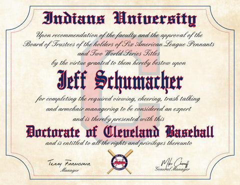 "Cleveland Indians Ultimate Baseball Fan Personalized Diploma - 8.5"" x 11"" Parchment Paper"