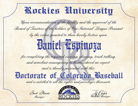 "Colorado Rockies Ultimate Baseball Fan Personalized Diploma - 8.5"" x 11"""