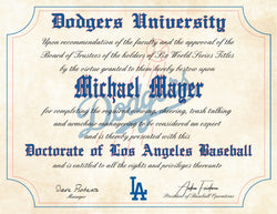 "Los Angeles Dodgers Ultimate Baseball Fan Personalized Diploma - 8.5"" x 11"""