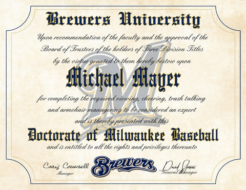 "Milwaukee Brewers Ultimate Baseball Fan Personalized Diploma - 8.5"" x 11"""