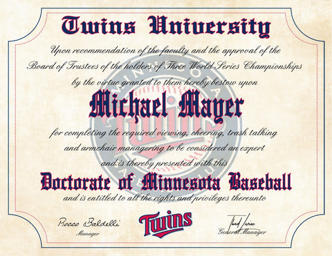 "Minnesota Twins Ultimate Baseball Fan Personalized Diploma - 8.5"" x 11"""