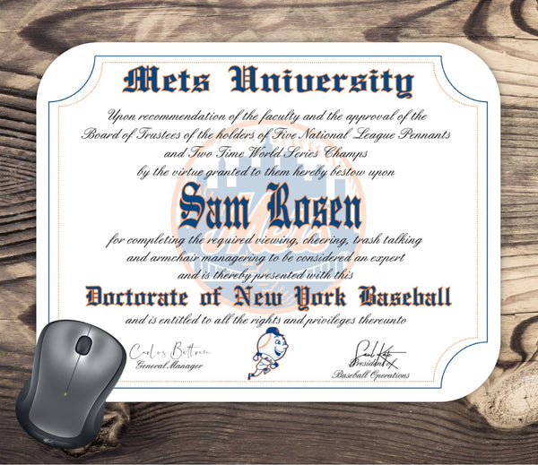 New York Mets Ultimate Baseball Fan Personalized Diploma - Mouse Pad