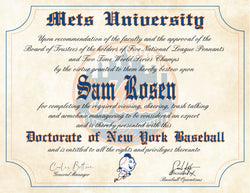 "New York Mets Ultimate Baseball Fan Personalized Diploma - 8.5"" x 11"" Parchment Paper"