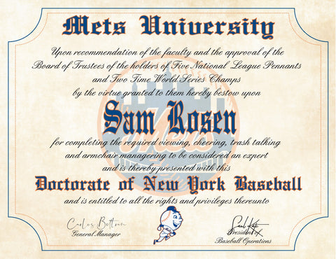 "New York Mets Ultimate Baseball Fan Personalized Diploma - Perfect Gift - 8.5"" x 11"" Parchment Paper"