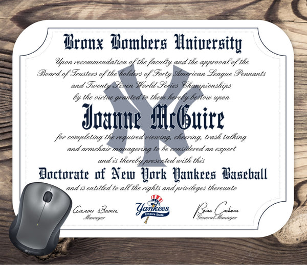 Personalized New York Yankees Baseball Ultimate Fan Diploma Mouse Pad
