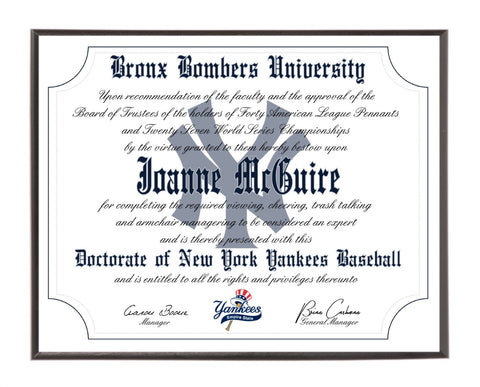 Personalized New York Yankees Ultimate Baseball Fan Diploma Wood Plaque