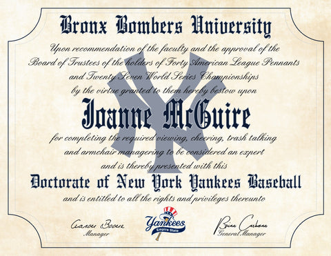 "New York Yankees Ultimate Baseball Fan Personalized Diploma - 8.5"" x 11"""