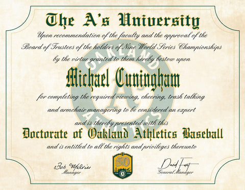 "Oakland A's Ultimate Baseball Fan Personalized Diploma - 8.5"" x 11"""