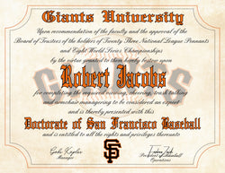 "San Francisco Giants Ultimate Baseball Fan Personalized Diploma - 8.5"" x 11"""