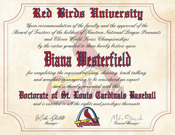 "St. Louis Cardinals Ultimate Baseball Fan Personalized Diploma - 8.5"" x 11"""