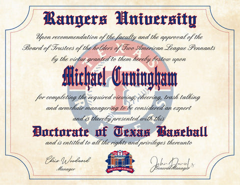 "Texas Rangers Ultimate Baseball Fan Personalized Diploma - 8.5"" x 11"""